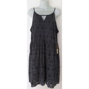 LC Gray Laser Cut India Ink V Front Suede Dress